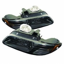 1996-2000 Dodge Caravan Amber Crystal HeadLights (PAIR) - Black (Spyder Auto)