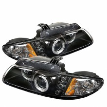 1996-2000 Dodge Caravan Projector HeadLights (PAIR) - LED Halo - Replaceable LEDs- Black - High H1 (Included) - Low H1 (Included) (Spyder Auto)
