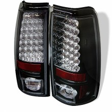 2004-2006 GMC Sierra 1500/2500/3500 ( Does Not Fit Stepside ) LED Tail Lights (PAIR) - Black (Spyder Auto)