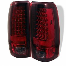 2004-2006 GMC Sierra 1500/2500/3500 ( Does Not Fit Stepside ) LED Tail Lights (PAIR) - Red Smoke (Spyder Auto)