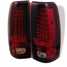 1999-2003 GMC Sierra 1500/2500/3500 LED Tail Lights (PAIR) - Red Clear (Spyder Auto)