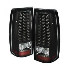 2004-2006 GMC Sierra 1500/2500/3500 Fleetside LED Tail Lights (PAIR) - Black (Spyder Auto)