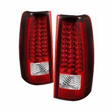 2004-2006 GMC Sierra 1500/2500/3500 Fleetside LED Tail Lights (PAIR) - Red Clear (Spyder Auto)