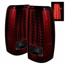 1999-2003 GMC Sierra 1500/2500/3500 LED Tail Lights (PAIR) - Red Smoke (Spyder Auto)