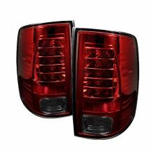 2009-2012 Dodge Ram 1500 LED Tail Lights (PAIR) - Red Smoke (Spyder Auto)