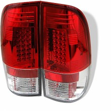1997-2003 Ford F150 Styleside LED Tail Lights (PAIR) - Red Clear (Spyder Auto)