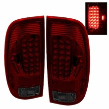 1997-2003 Ford F150 Styleside LED Tail Lights (PAIR) - Red Smoke (Spyder Auto)