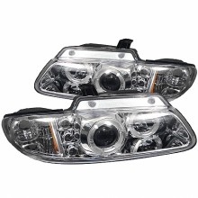 1996-2000 Dodge Caravan Projector HeadLights (PAIR) - LED Halo - Replaceable LEDs- Chrome - High H1 (Included) - Low H1 (Included) (Spyder Auto)