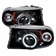 1998-2003 Dodge Durango 1PC Projector HeadLights (PAIR) - CCFL Halo - LED ( Replaceable LEDs ) - Black - High H1 (Included) - Low H1 (Included) (Spyder Auto)