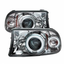 1998-2003 Dodge Durango 1PC Projector HeadLights (PAIR) - CCFL Halo - LED ( Replaceable LEDs ) - Chrome - High H1 (Included) - Low H1 (Included) (Spyder Auto)