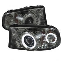1998-2003 Dodge Durango 1PC Projector HeadLights (PAIR) - CCFL Halo - LED ( Replaceable LEDs ) - Smoke - High H1 (Included) - Low H1 (Included) (Spyder Auto)