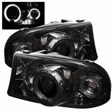 1998-2003 Dodge Durango 1PC Projector HeadLights (PAIR) - LED Halo - LED ( Replaceable LEDs ) - Smoke - High H1 (Included) - Low H1 (Included) (Spyder Auto)