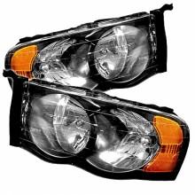 2002-2005 Dodge Ram 1500 Amber Crystal HeadLights (PAIR) - Black (Spyder Auto)
