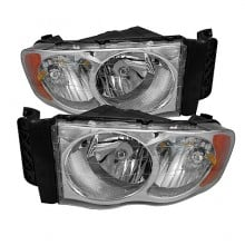 2002-2005 Dodge Ram 1500 Amber Crystal HeadLights (PAIR) - Chrome (Spyder Auto)