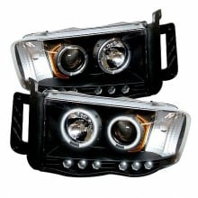 2002-2005 Dodge Ram 1500 Projector HeadLights (PAIR) - CCFL Halo - LED ( Replaceable LEDs ) - Black - High H1 (Included) - Low H1 (Included) (Spyder Auto)