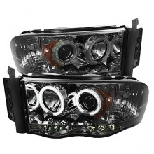 2002-2005 Dodge Ram 1500 Projector HeadLights (PAIR) - CCFL Halo - LED ( Replaceable LEDs ) - Smoke - High H1 (Included) - Low H1 (Included) (Spyder Auto)