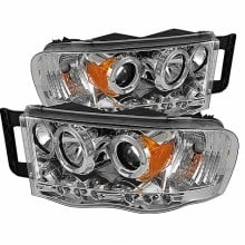 2002-2005 Dodge Ram 1500 Projector HeadLights (PAIR) - LED Halo - LED ( Replaceable LEDs ) - Chrome - High H1 (Included) - Low H1 (Included) (Spyder Auto)