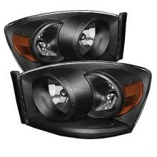 2006-2008 Dodge Ram 1500 Amber Crystal HeadLights (PAIR) - Black (Spyder Auto)