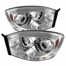 2006-2008 Dodge Ram 1500 Projector HeadLights (PAIR) - CCFL Halo - LED ( Replaceable LEDs ) - Chrome - High H1 (Included) - Low H1 (Included) (Spyder Auto)