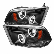 2009-2014 Dodge Ram 1500 Projector HeadLights (PAIR) - Halogen Model Only ( Not Compatible With Factory Projector And LED DRL ) - CCFL Halo - LED ( Replaceable LEDs ) - Black - High 9005 (Not Included)- Low H1 (Included) (Spyder Auto)