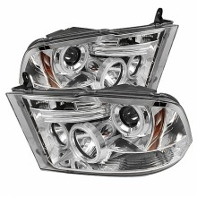 2009-2014 Dodge Ram 1500 Projector HeadLights (PAIR) - Halogen Model Only ( Not Compatible With Factory Projector And LED DRL ) - CCFL Halo - LED ( Replaceable LEDs ) - Chrome - High 9005 (Not Included)- Low H1 (Included) (Spyder Auto)