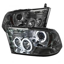 2009-2014 Dodge Ram 1500 Projector HeadLights (PAIR) - Halogen Model Only ( Not Compatible With Factory Projector And LED DRL ) - CCFL Halo - LED ( Replaceable LEDs ) - Smoke - High 9005 (Not Included)- Low H1 (Included) (Spyder Auto)