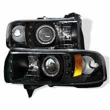 1994-2001 Dodge Ram 1500 Projector HeadLights (PAIR) - ( Do Not Fit Sport Model ) - CCFL Halo - LED ( Replaceable LEDs ) - Black - High H1 (Included) - Low H1 (Included) (Spyder Auto)
