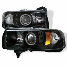 1994-2001 Dodge Ram 1500 Projector HeadLights (PAIR) - ( Do Not Fit Sport Model ) - LED Halo - LED ( Replaceable LEDs ) - Black - High H1 (Included) - Low H1 (Included) (Spyder Auto)
