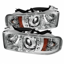 1994-2001 Dodge Ram 1500 Projector HeadLights (PAIR) - ( Do Not Fit Sport Model ) - LED Halo - LED ( Replaceable LEDs ) - Chrome - High H1 (Included) - Low H1 (Included) (Spyder Auto)