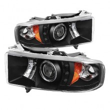 1999-2001 Dodge Ram 1500 Projector HeadLights (PAIR) - ( Sport Model Only ) - LED Halo - LED ( Replaceable LEDs ) - Black - High H1 (Included) - Low H1 (Included) (Spyder Auto)