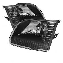 1997-2003 Ford F150 Crystal HeadLights (PAIR) - Black (Spyder Auto)
