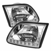1997-2003 Ford F150 Crystal HeadLights (PAIR) - Chrome (Spyder Auto)