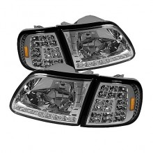 1997-2003 Ford F150 Crystal HeadLights (PAIR) W/ Clear LED Corners - Chrome (Spyder Auto)