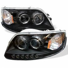 1997-2003 Ford F150 1PC Projector HeadLights (PAIR) - ( Will Not Fit Manufacture Date Before 6/1997 ) - LED Halo - Amber Reflector - LED ( Replaceable LEDs ) - Black - High 9005 (Included) - Low H3 (Included) (Spyder Auto)