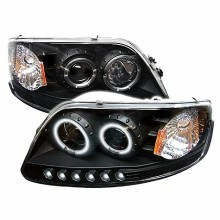 1997-2003 Ford F150 1PC Projector HeadLights (PAIR) - ( Will Not Fit Manufacture Date Before 6/1997 ) - CCFL Halo - LED ( Replaceable LEDs ) - Black - High 9005 (Included) - Low H3 (Included) (Spyder Auto)