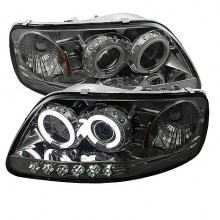 1997-2003 Ford F150 1PC Projector HeadLights (PAIR) - ( Will Not Fit Manufacture Date Before 6/1997 ) - CCFLHalo - LED ( Replaceable LEDs ) - Smoke - High 9005 (Included) - Low H3 (Included) (Spyder Auto)