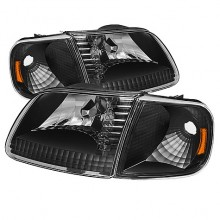 1997-2003 Ford F150 Crystal HeadLights (PAIR) w/Corner - Chrome (Spyder Auto)