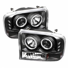 1999-2004 Ford F250 Super Duty 1PC Projector HeadLights (PAIR) - Version 2 - CCFL Halo - LED ( Replaceable LEDs ) - Black - High H1 (Included) - Low H1 (Included) (Spyder Auto)