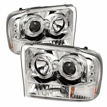 1999-2004 Ford F250 Super Duty 1PC Projector HeadLights (PAIR) - Version 2 - LED Halo - LED ( Replaceable LEDs ) - Chrome - High H1 (Included) - Low H1 (Included) (Spyder Auto)
