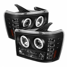 2007-2013 GMC Sierra 2500HD/3500HD Projector HeadLights (PAIR) - CCFL Halo- LED ( Replaceable LEDs ) - Black - High H1 (Included) - Low H1 (Included) (Spyder Auto)