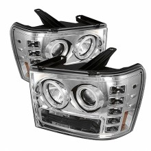 2007-2013 GMC Sierra 2500HD/3500HD Projector HeadLights (PAIR) - CCFL Halo- LED ( Replaceable LEDs ) - Chrome - High H1 (Included) - Low H1 (Included) (Spyder Auto)