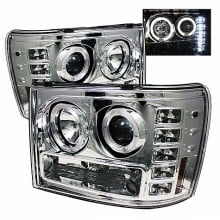 2007-2013 GMC Sierra 2500HD/3500HD Projector HeadLights (PAIR) - LED Halo- LED ( Replaceable LEDs ) - Chrome - High H1 (Included) - Low H1 (Included) (Spyder Auto)