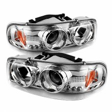 2000-2006 GMC Yukon Projector HeadLights (PAIR) - CCFL Halo - LED ( Replaceable LEDs ) - Chrome - High 9005 (Not Included) - Low 9006 (Included) (Spyder Auto)