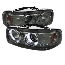 2000-2006 GMC Yukon Projector HeadLights (PAIR) - CCFL Halo - LED ( Replaceable LEDs ) - Smoke - High 9005 (Not Included) - Low 9006 (Included) (Spyder Auto)