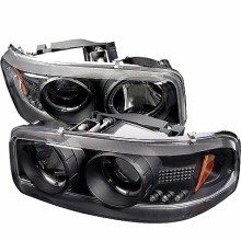 2000-2006 GMC Yukon Projector HeadLights (PAIR) - LED Halo - LED ( Replaceable LEDs ) - Black - High 9005 (Not Included) - Low 9006 (Included) (Spyder Auto)