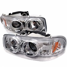 2000-2006 GMC Yukon Projector HeadLights (PAIR) - LED Halo - LED ( Replaceable LEDs ) - Chrome - High 9005 (Not Included) - Low 9006 (Included) (Spyder Auto)