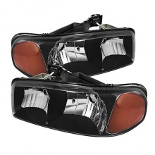 2000-2006 GMC Yukon Crystal HeadLights (PAIR) Amber- Black (Spyder Auto)