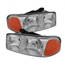 2000-2006 GMC Yukon Crystal HeadLights (PAIR) Amber- Chrome (Spyder Auto)