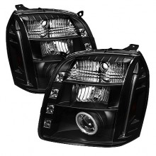 2007-2013 GMC Yukon XL Projector HeadLights (PAIR) - CCFL Halo - LED ( Replaceable LEDs ) - Black - High H1 (Included) - Low H1 (Included) (Spyder Auto)