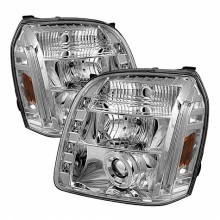 2007-2013 GMC Yukon XL Projector HeadLights (PAIR) - LED Halo - LED ( Replaceable LEDs ) - Chrome - High H1 (Included) - Low H1 (Included) (Spyder Auto)